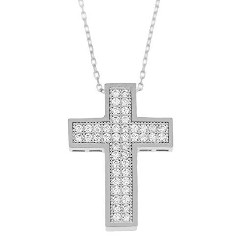 Echt goud dames zirkonia kruis met ketting sieradenset witgoud hanger gouden hanger set 2396