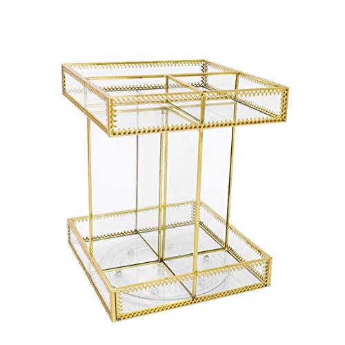Kosmetik Aufbewahrungsbox, Rotierendes Glas Desktop Retro Schminktisch Lippenstift Transparent Finishing Rack (Size : XXXL)