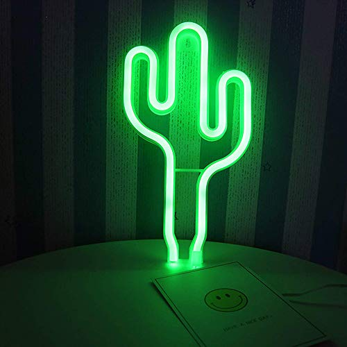 LED Green Cactus Neon Sign Wall Decor USB or Battery Operated Neon Night Lights Lamps Art Decor Wall Decoration Table Lights Decorative for Home Living Room Wedding Birthday Christmas Party