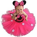 IBTOM CASTLE Ragazze Vestito Bambina Minnie Polka Dots Tutu Principessa Carnevale Compleanno Costume Abiti per Festa Cerimonia Comunione Nuziale Fiore Nozze Gonna Elegante Ballerina Rose 2-3 Anni