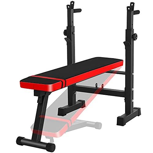 ZEHNHASE Banco de Pesas Plegable Ajustable con soporte para barras de pesas y estación de dip, Musculacion Entrenamiento Maquina Gimnasio Carga 150KG