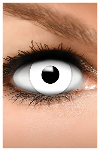 FUNZERA Farbige Halloween Kontaktlinsen weiß ZOMBIE, weich, 2 Stück (1 Paar), Ohne Sehstärke