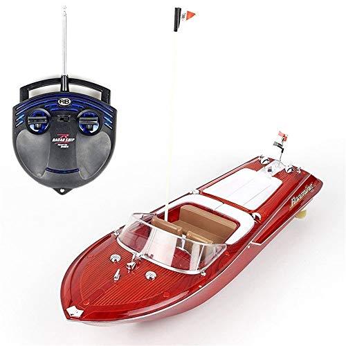 OUUED Grano de madera Classic High Speed Impermeable STUNT RC Boat Control Remoto Control de yate Grande Recargable Speed Boat Toy Professional 4 canal 2.4GHz Radio para niños de 12 años Juegos de