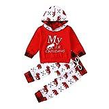 Geagodelia Babykleidung Set Baby Jungen Mädchen Kleidung Langarm Kapuzenpullover Top + Hose Neugeborene Kleinkinder Weiche Babyset Weihnachtsoutfit T-20839 (6-12 Monate, Rot - My First Christmas)