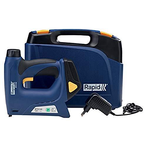 Rapid BTX140 Agrafeuse-cloueuse électrique sans fil à batterie Lithium-Ion pour agrafes à fil plat No. 140, de 6 à 14 mm et pour clous brads No. 8 de 15 mm