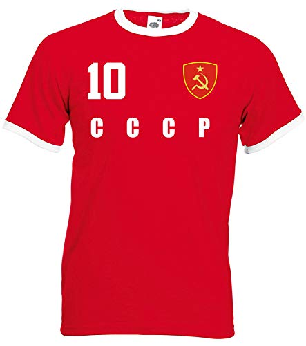 aprom CCCP UDSSR Sowjetunion Ringer T-Shirt Fußball Trikot All-10 R (XL)