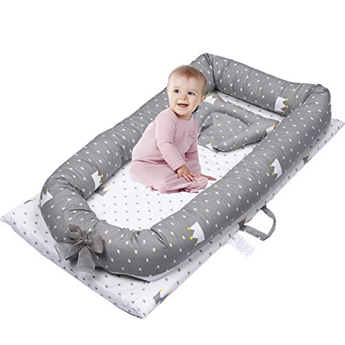 Mooedcoe Baby Nest with Extra Pillow, 0-28 Months Baby Lounger Newborn Baby Cribs Bassinet Co Sleep Portable Bed 100% Cotton Soft Mattress