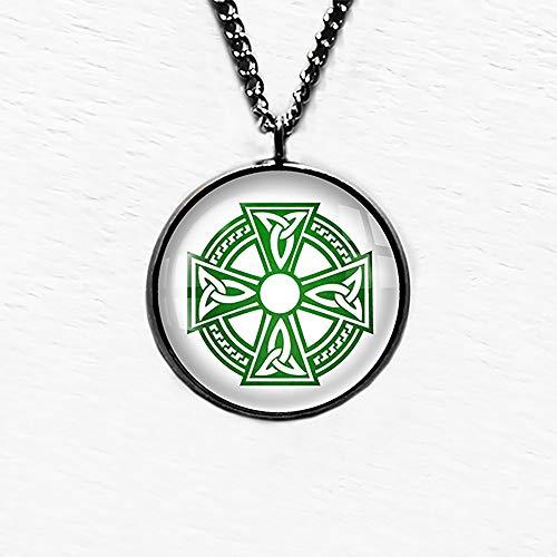 Celtic Cross Ailm White on Green Pendant Necklace
