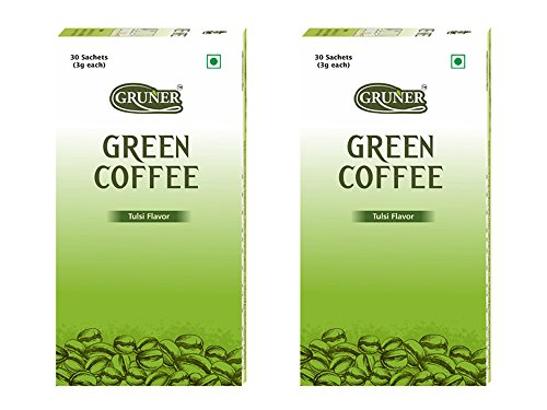 Gruner Tulsi Flavored Unroasted Green Coffee Powder for Weight Management – 30 Sachets (Each Sachet 3 Gram) Pack of 2