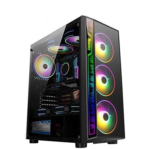 APROTII ATX Case, Mid-Tower PC Gaming Chasis, compacta carcasa de ordenador con panel de vidrio templado, listo para refrigeración por agua, sistema de gestión de cables, color negro