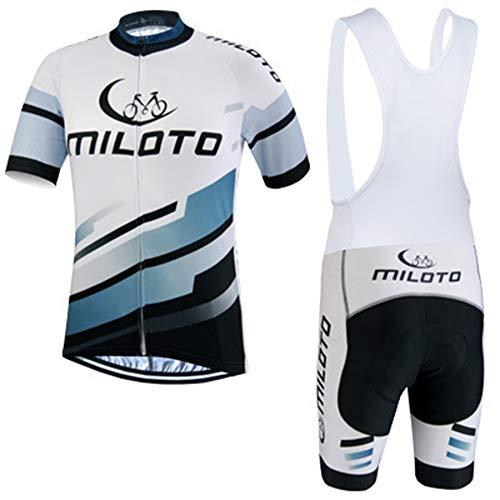 IJNUHB Maillot Cyclisme Homme Manche Courte + Gel Coussin Route VTT Combinaison Vélo Cuissard à Bretelle Respirant Séchage Rapide Plein air Sport vélo,A,S