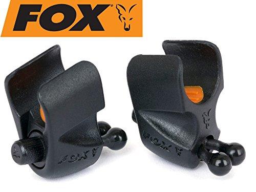 Fox Black Label Adjustable Rod Clip - 2 Rutenclips zum Karpfenangeln, Einhänger für Karpfenrute für Hanger Bissanzeiger