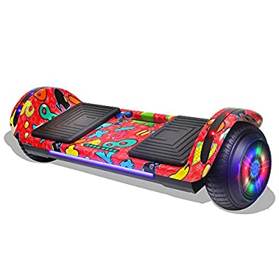 """LONGTIME 6.5"""" Bluetooth Hoverboard Self Balancing Scooter with LED Lights Flashing Wheels (Red)"""