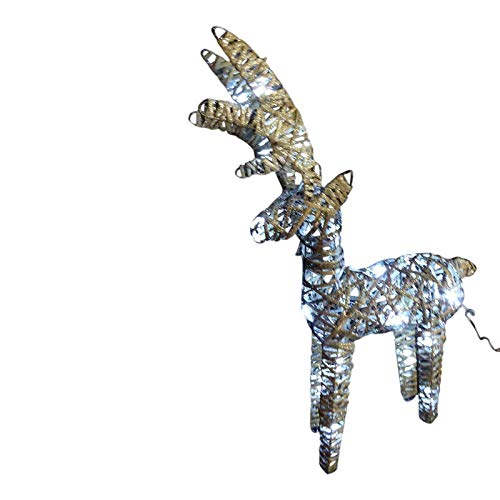UK-Gardens Light Up 60cm 2ft Pre Lit Rustic Grey Christmas Reindeer Figure Ornament With Bright White LED Lights - Battery Operated Indoor Outdoor Christmas Decoration