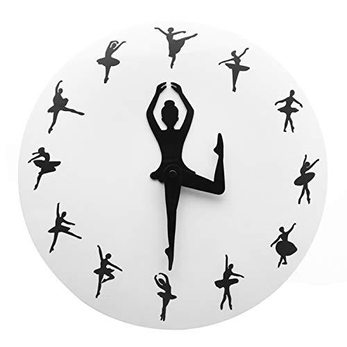Reloj de Pared Bailarina Chica Novedad Reloj de Pared Decoración del hogar Danza Dama Reloj Manos Reloj de Pared Moderno sin tictac Estudio de Baile Arte del Lago de los cisnes
