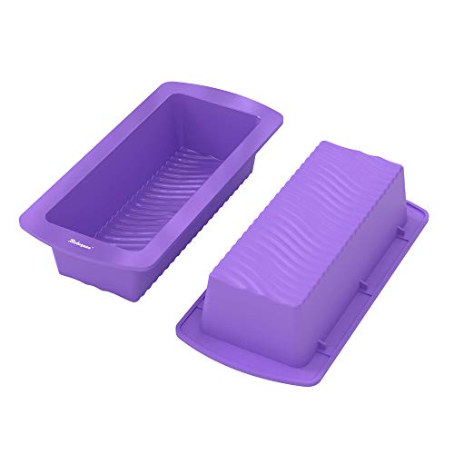 Bakerpan Silicone Loaf Pan, 9 Inch Cake Mold, Rectangle Shape Bread Pan, Purple - Set of 2