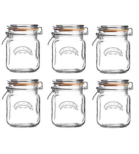 6 x Kilner Clip Top Glass Storage Jar - Square 1 Litre