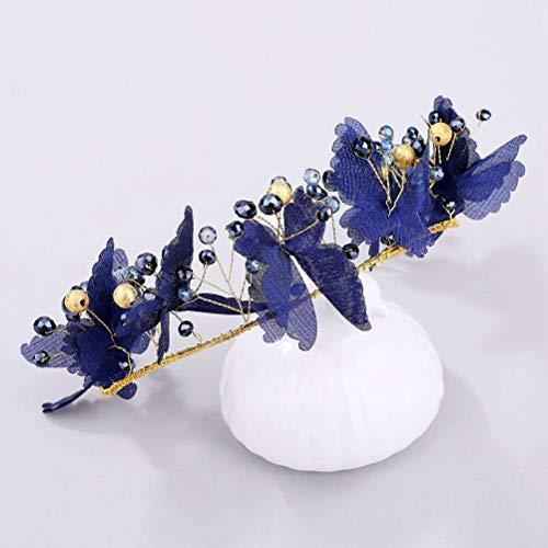 Diadema de Cristal, Hilo Tejido Artesanal Azul Butterfly Rhinestone Beads Secador De Banda Braidesmaid Sombreros, Diademas De Moda Nupcial Boda Cintillos Chica Pelo Festival Accesorios Regalos