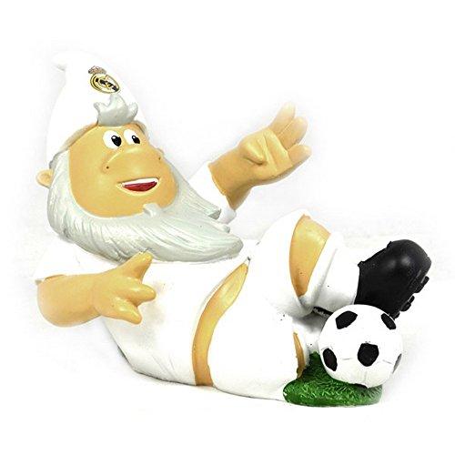 Gartenzwerg mit Fußball und Real Madrid CF Design (Einheitsgröße) (Weiß)
