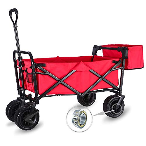 """WHITSUNDAY Collapsible Folding Garden Outdoor Park Utility Wagon Picnic Camping Cart with Wheel Bearing and Brake (Standard Size(Plus+) 8"""" Heavy Duty Wheels, Red)"""