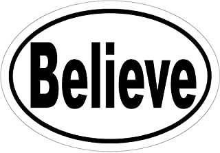 WickedGoodz Oval Black & White Believe Vinyl Decal - Inspirational Bumper Sticker - Teacher Decal - Perfect Inspirational Gift - Made in The USA