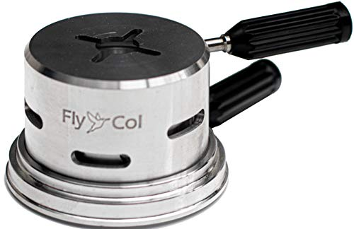 FlyCol ECON One Shisha SmokeBox | Sparsame 1 Kohle Mini Heatbox Kopf Aufsatz | Hitze Management System Wasserpfeife Smoke Box Charcoal Holder (Silber)