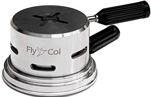 FlyCol ECON One Shisha SmokeBox | Sparsame 1 Kohle Mini Heatbox Kopf Aufsatz | Hitze Management System Wasserpfeife Smoke Box Charcoal Holder (Silber)