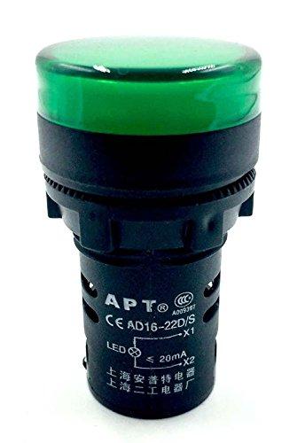 Woljay Voyant Indication Panneau Pilote LED Vert 22mm LED Pilote AC 220V 20mA Indicateur de Lampe de signalisation 2 pièces