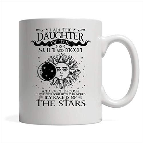 N\A Soy la Hija del Sol y la Luna Mi Raza es de Las Estrellas - Taza Blanca de café con Envoltura Completa