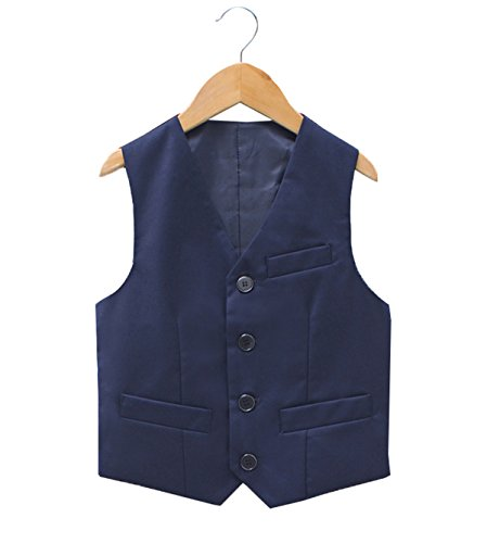 Fankeshi Boy's 4 Button Formal Suit Vest Navy 8