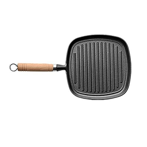 KATI Sartén Antiadherente Fry SART Pan de Hierro Fundido Manija de Madera Placa de Parrilla Cuadrada Placa multifunción Stripte de Fondo Grueso Herramientas de cocción (Color : Striped Frying Pan)