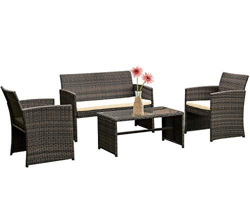 FDW 4 Pieces Outdoor Patio Furniture Sets Rattan Chair Patio Set Wicker Conversation Set Poolside...
