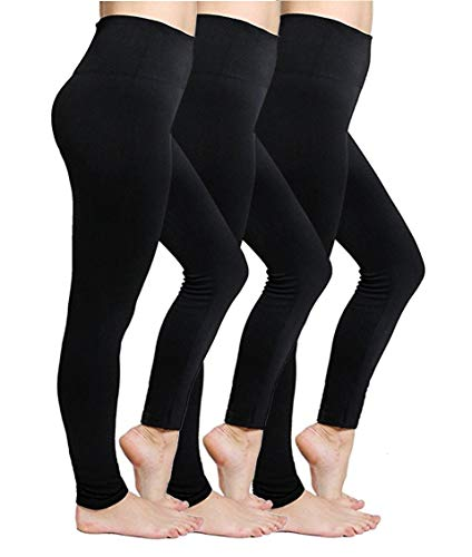 Women's Fleece Lined Leggings High Waisted Thermal Leggings Tummy Control Seamless Warm Winter Leggings for Women, 3 Pack - Black
