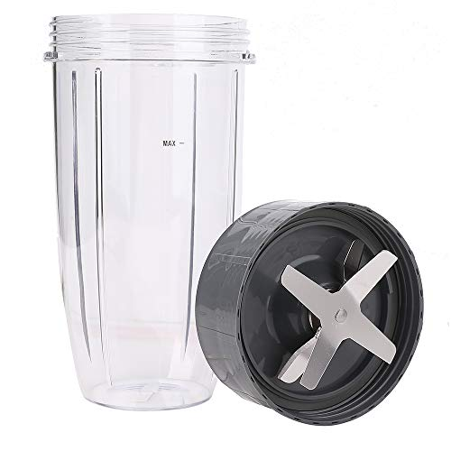 32oz Colossal Cup and Extractor Blade, Replacement Parts Blender Containers and Blade Compatible with Nutribullet 600W & Pro 900W NB-101B NB-101S NB-201 Models Mixer Blender