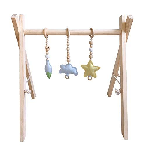 GuoCu Holz Baby Fitness Rack + 3Pcs Anhänger,Spielbogen für Babys Holz Faltbare Aktivität Spiel Gym Spielzeug Sensorische Neugeborenen Geschenk mit Anhänger 1 Einheitsgröße