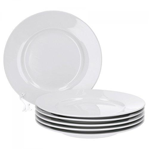Van Well Trend 6er Set Dessertteller, flach Ø 20 cm weiß Porzellan Geschirr Frühstücksteller
