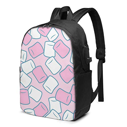 Laptop Backpack with USB Port Candy Marshmallow Pink Green, Business Travel Bag, College School Computer Rucksack Bag for Men Women 17 Inch Laptop Notebook