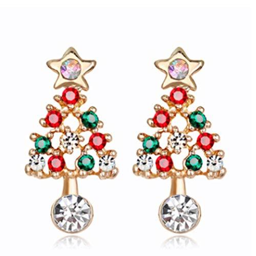 Pendientes de árbol de Navidad con diseño de estrella y diamantes de imitación, con circonita cúbica, para mujer