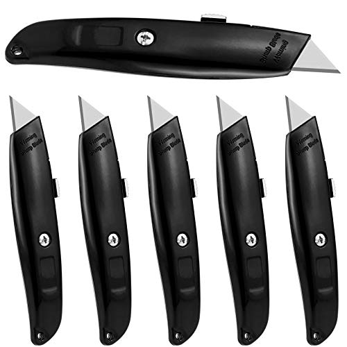 DIYSELF 6Pack Utility Knife Box Cutter Retractable Blade Heavy Duty with Extra 10 Blades Black