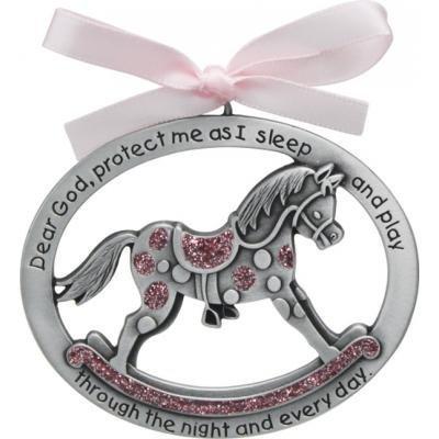 Sweet ROCKING HORSE Crib Medal for Baby GIRL with PRAYER Verse PEWTER Finish - CHRISTENING/SHOWER GIFT - Baptism KEEPSAKE w/PINK RIBBON - INFANT - Newborn (Original Version)
