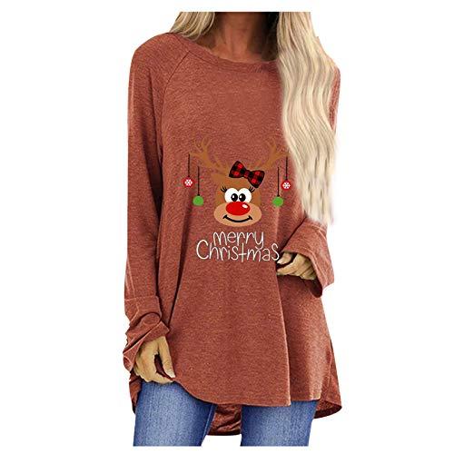 Xmiral Langarm Weihnachten Pullover Print T-Shirt Tops Nette Muster Buchstaben Gedruckt Langer Pullover Rundhals Lose T-Shirt(a-Khaki,S)
