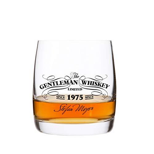 Herz & Heim® Gentleman Whiskey Glas mit Aufdruck in Schwarz Top Idee für Männer