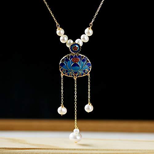 Feng-Shui-Halskette Für Frau Reichtum Ohrringe Chinesische Landschaft Thai Blau Set Kupfer Überzogen 14K Lotus Perlen-Troddel-Halsketten-Ohrringe Locken Glücks Geschenk,Necklace