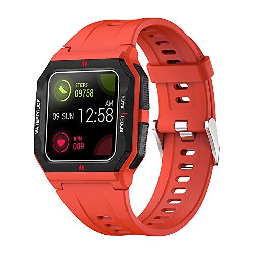 ZOZIZZ Reloj Inteligente, Reloj Deportivo de Carga inalámbrica táctil Completa Impermeable IP67, perseguidor Multifuncional,Rojo