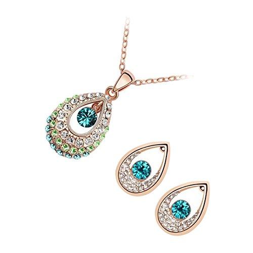 UPCO Jewellery Conjunto Collar y Pendientes Tipo Gota de Agua con una Piedra Redonda Azul aliñeada rodeada por Cristales bañados en Oro Amarillo 18 K