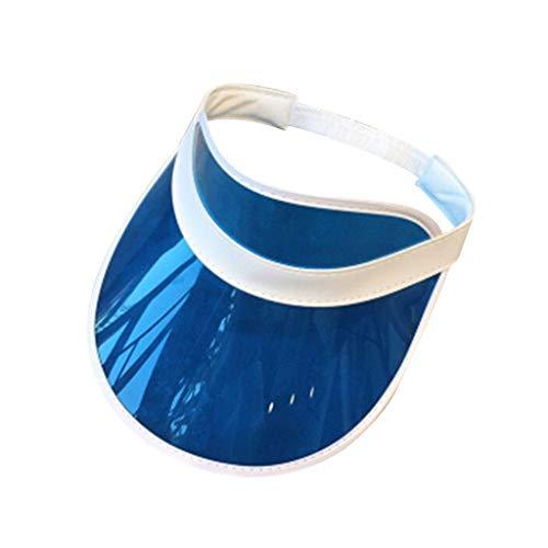 QIUXIAOAA Visor Hat Women, Mujeres Hombres Transparente PVC Sombrilla de plástico Sombrero Frosted Sweet Candy Color Empty Open Top Sports Beach Visera Parasol Cap Correa Back, 4