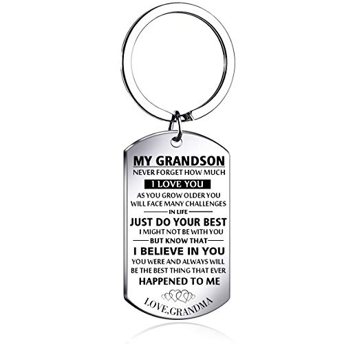 Meaningful dog tag keychain rings for boy and men,to my grandson from grandma silver plated plated Stainless steel keychain Inspirational Gifts for grandson Jewelry