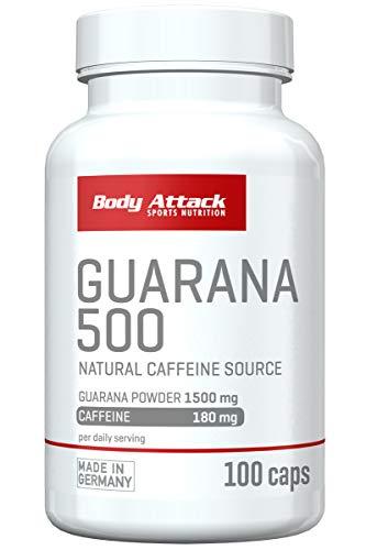 Body Attack Sports Nutrition Guarana 500 - hochdosiert - 1500mg Guarana & 180mg Koffein - 100 Kapseln