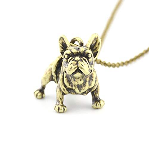 VAWAA Metal Negro Francés Bulldog Perro Colgante Collar Accesorios Largo Maxi Cadena Macho Collares para Mujeres Hombres Mejor Amigo