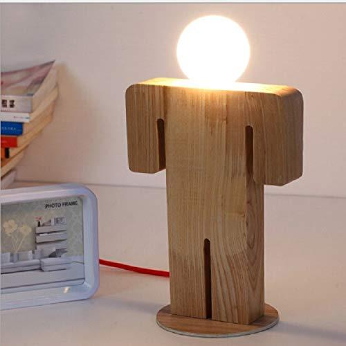 Zaklamp E27 220V Girl Boy Modeling Houten Tafel Lamp Geschikt for Living Room Bedside Slaapkamer Reading Lighting, Style: Jongen, Maat: L Eye-Care Desk Lamp
